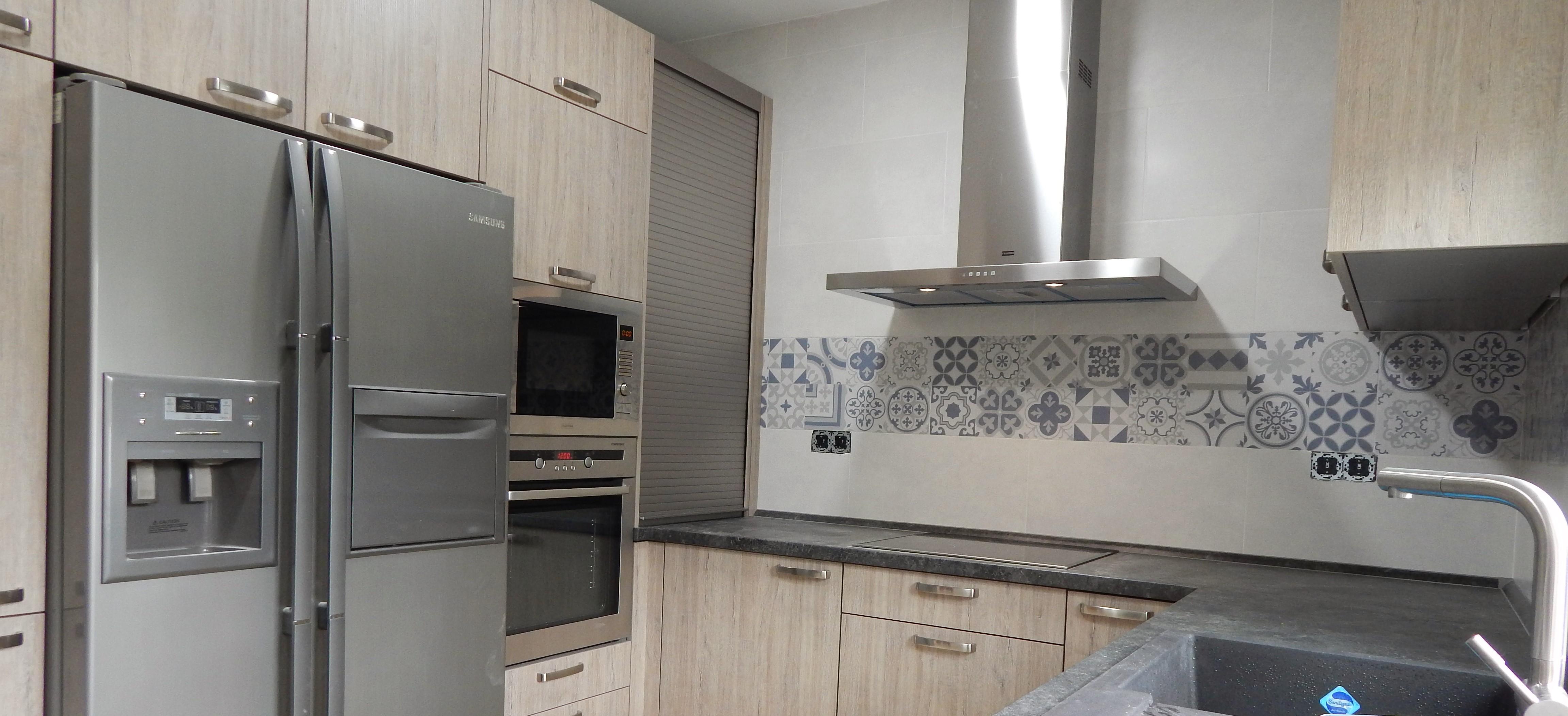 Muebles de cocina roble gris seda for Muebles de cocina gris
